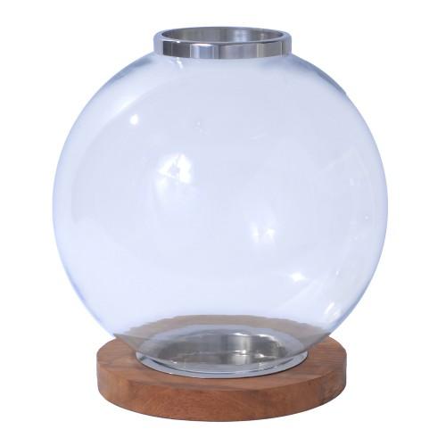 Globe Wood Base Candle Holder