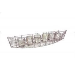 Iron Boat w/ Mercury Glass Votive
