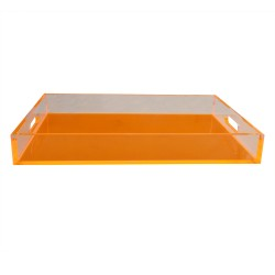 Neon Orange Sq Lucite Tray