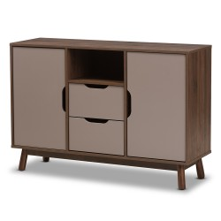 Baxton Studio Britta Mid-Century Modern Walnut Brown and Grey Two-Tone Finished Wood Sideboard