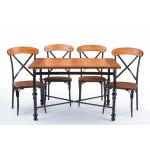 Baxton Studio Broxburn Light Brown Wood & Metal Dining Table