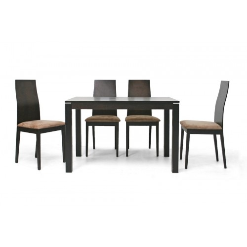 Baxton Studio Calhoun Dark Brown 5-Piece Modern Dining Set