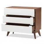 Baxton Studio Calypso Mid-Century Modern White and Walnut Wood 3-Drawer Storage Chest