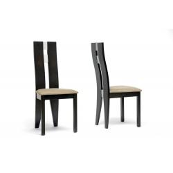 Baxton Studio Casablanca Dark Brown Modern Dining Chair (Set of 2)