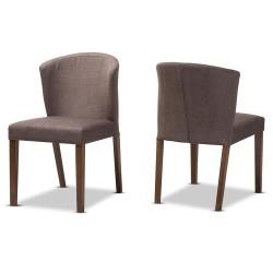 Baxton Studio Cassie Mid-Century Modern Walnut Wood Light Brown Fabric Dining Chair