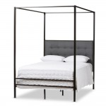 Baxton Studio Adelaide Retro Modern Light Grey Fabric Upholstered King Size Platform Bed