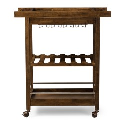 Baxton Studio Hannah Brown Finish Rubberwood Serving Bar Cart with Built-in Wine Rack and Wine Glass Holders