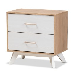 Baxton Studio Helena Mid-Century Modern Natural Oak and Whitewashed Finished Wood 2-Drawer Nightstand
