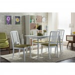 Baxton Studio Jasmine Mid-century Modern 5-Piece White Wood Dining Set with Green Upholstered Dining Chair