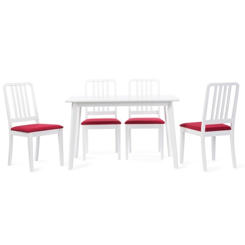 Baxton Studio Jasmine Mid-century Modern 5-Piece White Wood Dining Set with Red Upholstered Dining Chair