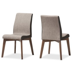 Baxton Studio Kimberly Mid-Century Modern Beige and Brown Fabric Dining Chair (Set of 2)