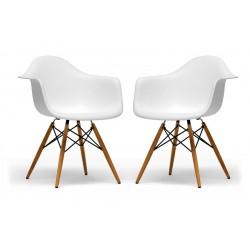 Baxton Studio Pascal White Plastic Chair Set of Two