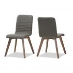 Baxton Studio Sugar Mid-century Retro Modern Scandinavian Style Dark Grey Fabric Upholstered Walnut Wood Finishing Dining Chair