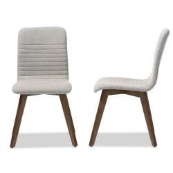 Baxton Studio Sugar Mid-century Retro Modern Scandinavian Style Light Grey Fabric Upholstered Walnut Wood Finishing Dining Chair