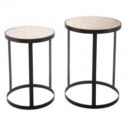 Antique Set Of 2 Tables Black