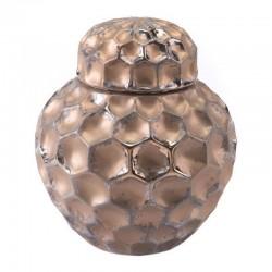 Hammered Sm Covered Jar Bronze