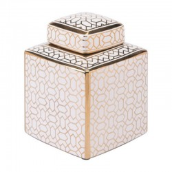 Laberint Covered Jar Sm Gold And White