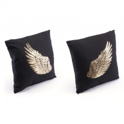 Metallic Wings Set Of 2 Pillows Blk & Gd