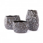 Stones Vase Metallic Brown & White